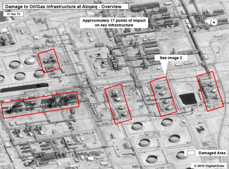 Повреждения на нефтяном объекте суадитов в Абкайке - всего около 17 серьезных повреждений (как от ракет, так и от последующих взрывов и пожара).