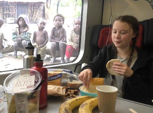 """Грета Тунберг уверяет, что у нее """"отняли детство"""". Но я думаю, что если бы она проголодалась, она бы без всяких колебаний отняла и последнее даже у умирающих от голода негритянских детей, лишь бы не пропустить время обеда. Фашизм - это вполне естественное явление для Запада и """"западного человека""""."""