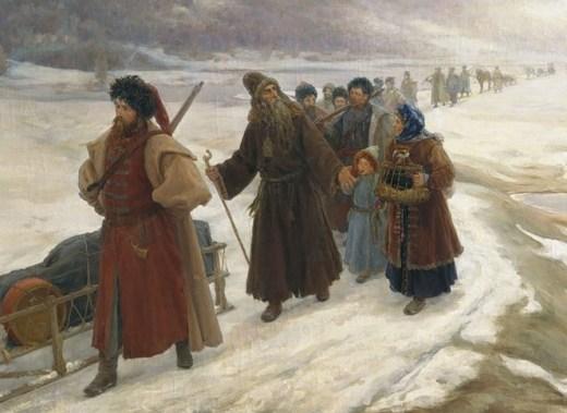 Русские раскольники на пути в ссылку. Смотрятся гораздо бодрее, чем пленные французы, но радости во всем этом мало.