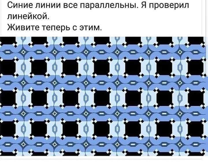 На этой картинке все синие (горизонтальные) линии параллельны друг другу (как и вертикальные голубые), хотя кажется, что они идут под углом. На этой картинке вообще все элементы абсолютно симметричны (включая прямоугольники и узоры), за тем исключением, что все прямоугольники, из которых состоят линии, а также черные прямоугольники между ними, несколько больше по длине, чем по высоте. И именно за счет этого создается иллюзия, что горизонтальные линии не являются параллельными.