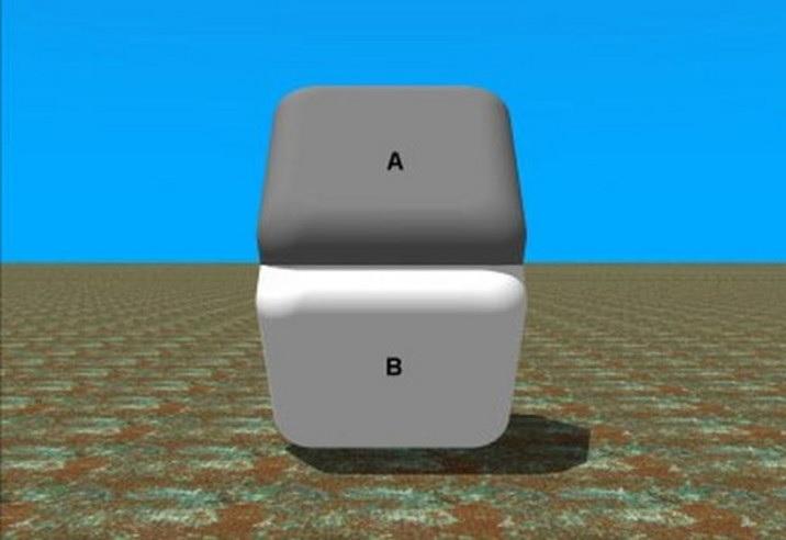 На этой картинке прямоугольники A и B одинакового цвета. Чтобы в этом убедиться, достаточно закрыть границу между ними и убрать фон.