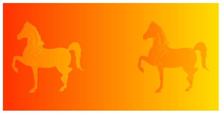 Эти две лошади имеют абсолютно одинаковую цветовую окраску, но они воспринимаются нашим сознанием как разного цвета из-за разного фона.