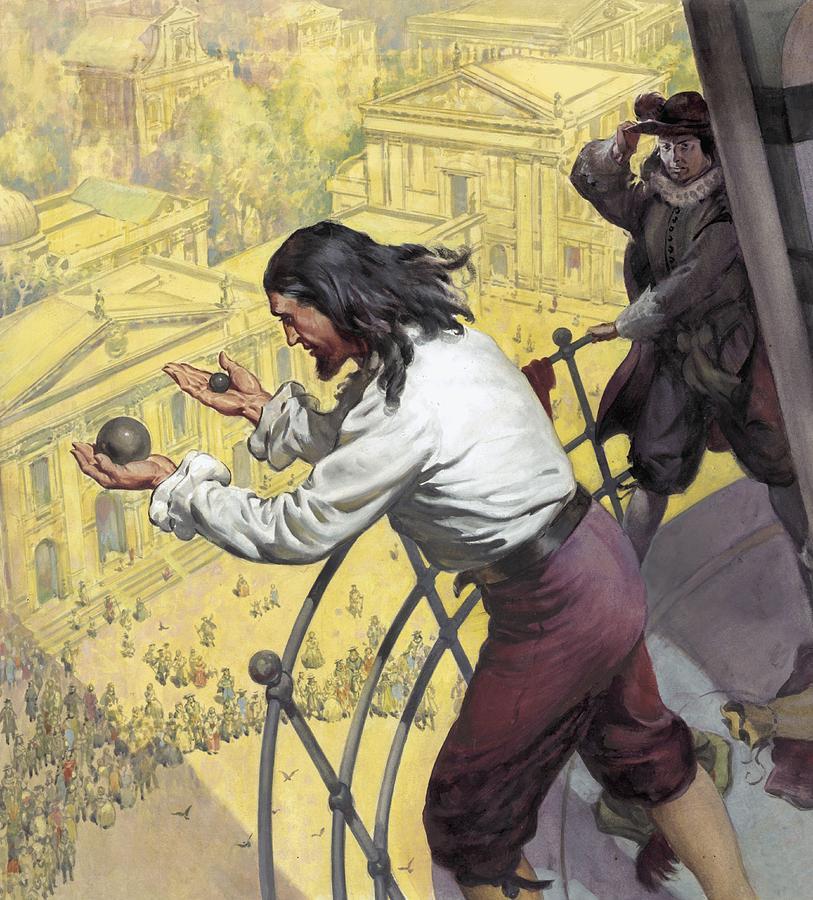 """Галилей кидает шарики разной массы с Пизанской башни. """"Задержите хулигана!"""""""