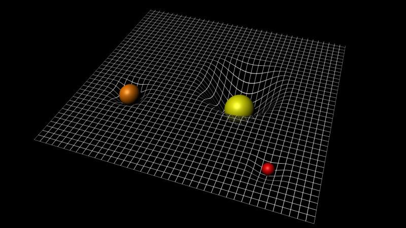 """Если мы положим шарики на натянутую ткань, то ткань изогнется, и мы можем говорить, что изогнулась не ткань, а """"поверхность ткани"""" - то есть геометрическая форма ткани. Эйнштейн в своей ОТО уверяет нас, что """"поверхность"""" ткани может существовать без какой-либо ткани, то есть как чисто геометрическая (идеальная) реальность. Однако при этом такая поверхность может не только изгибаться сама под действием шариков, но и оказывать на них встречное воздействие, определяя, как будут катиться шарики по такой чисто идеальной поверхности. В истории физики еще не было более абсурдной, с философской точки зрения, физической теории."""