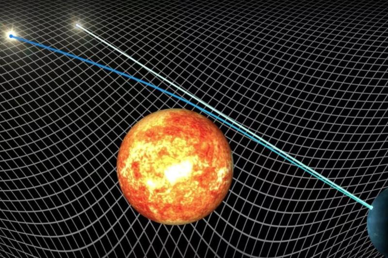 """Отклонение луча света от """"прямой линии"""" в гравитационном поле Солнца или другого небесного тела в ОТО объясняется искривлением пространства-времени."""