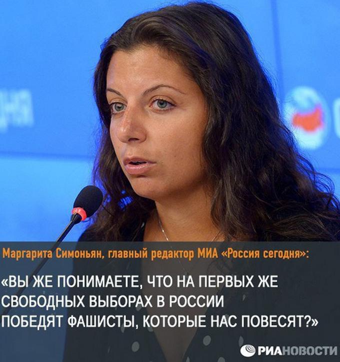 """Известное высказывание Симоньян, в котором она довольно точно выразила отношение всего нынешнего правящего русофобского олигархического режима к демократии и причину, по которой они так боятся демократии: они боятся, что к власти придут русские (в РФ """"русские"""" и """"фашисты"""" - это почти синонимы, особенно сильно русских, конечно, боятся и ненавидят евреи), и что их тут же повесят (то есть они прекрасно понимают, что за все, что они сделали с Россией, они все вполне заслуживают виселицы). Но без демократии у России нет будущего - это единственный способ превратить нынешний уродливый олигархический режим в нечто цивилизованное, а Россию - в нормальное правовое государство."""