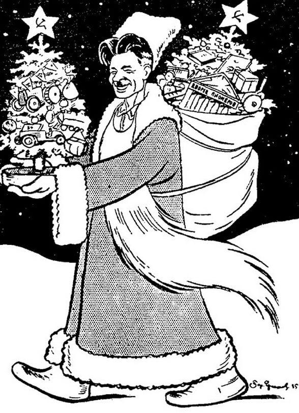 """«Павел Постышев несёт новогодние подарки советским детишкам». Рисунок в газете """"Правда"""" от 28 декабря 1935 года, на которой изображен большевицкий выродок и людоед Постышев - в то время глава Киевского обкома и кандидат в члены Политбюро. Один из инициаторов и активных участников массового террора, однако в 1939 году Джугашвили и большевики прикончили и его самого. На рисунке, видимо, изображен в виде """"большевицкого Деда Мороза"""" - почему-то в """"казачьей"""" (хохляцкой) бурке, в хохляцкой вышиванке и с бородой в виде фартука. А в мешке - видимо, головы и конечности убитых большевиками людей."""
