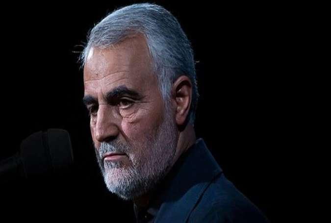 Генерал Касем Сулеймани, верный сын иранского народа, убитый заокеанскими шакалами в ходе трусливого террористического акта.