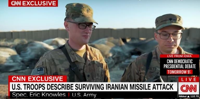 Еще два заокеанских придурка из того же репортажа CNN с базы тупых пиндосов в Ираке «Айн аль-Асад» рассказывают, сколько раз они обосрались во время ракетного удара Ирана 8 января. Им теперь за это стыдно - но в тот момент им действительно было очень-очень страшно.