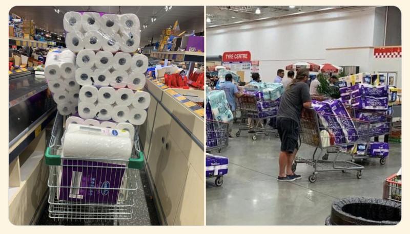 """Массовая закупка туалетной бумаги в Австралии. Но примерно такая же картинка сейчас царит во многих супермаркетах Пиндостана, Сраной Британии и других стран """"свободного мира""""."""