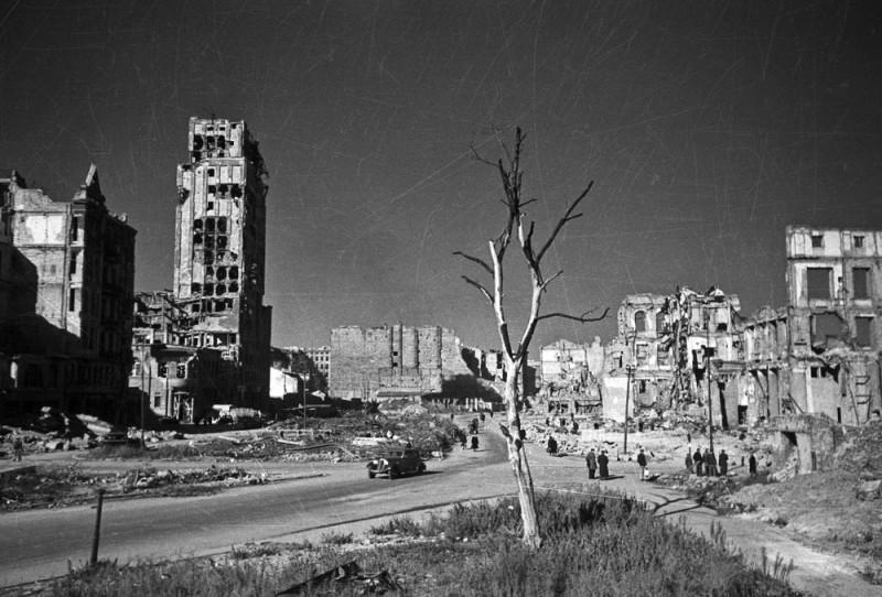 Площадь Наполеона в Варшаве в 1945 году. У поганых ляхов давняя традиция - называть свои площади в Варшаве в честь завоевателей с Запада, и, как известно, незадолго до войны они хотели одну из площадей Варшавы назвать в честь Гитлера (при условии, что нацисты помогут им избавиться от польских евреев). А вот деревцо оставили очень кстати - чтобы выжившие поганые ляхи могли на нем повеситься.