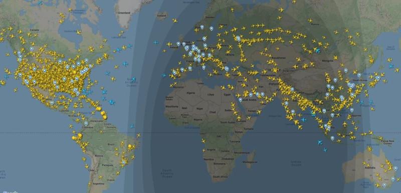 Авиатраффик в мире 4 апреля в 18-30 по вашингтонскому времени.