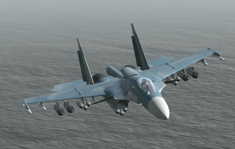 Русский палубный истребитель Су-33.