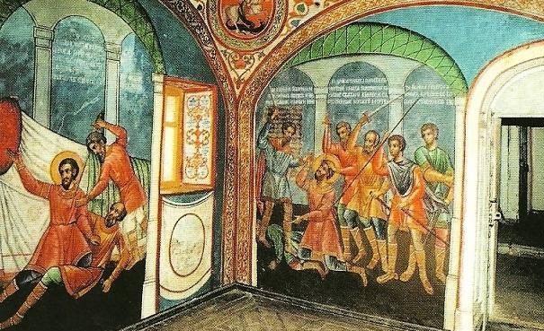 Убийство святого благоверного князя Андрея Боголюбского на православной иконе 14 века.