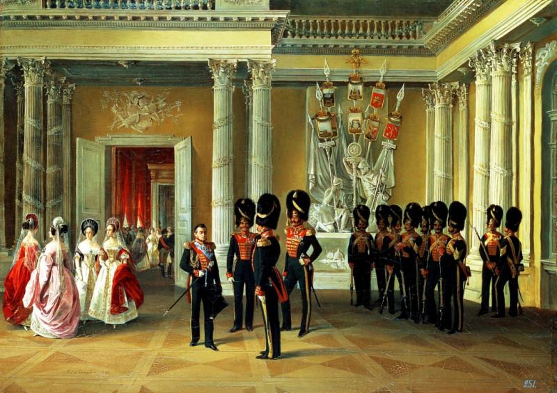 Зимний дворец, часть Белого (Гербового) зала, 1838 год, худ. Адольф Ладюрнер.