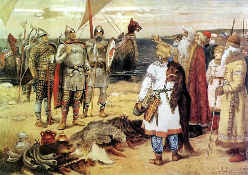 """""""Призвание варягов"""" на княжение в Новгороде в 862 году. Все по Гоббсу: свободный демократический народ Новгорода, дабы прекратить внутренние ссоры и """"войну всех против всех"""", передает часть властных полномочий монарху."""