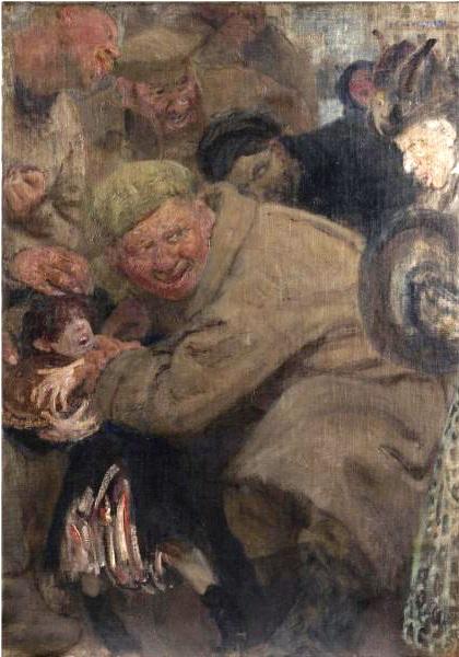 Илья Репин. «Большевики. Солдаты Троцкого отнимают у мальчика хлеб», 1918 год.