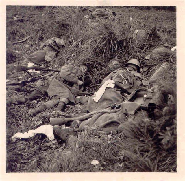 Тела русских солдат, погибших за Советскую Родину.