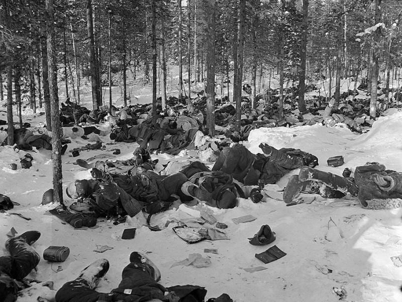 Советские твари считают главным символом той войны свое большевицкое знамя над Рейхстагом. Но для русских главным символом и итогом той войны стали похоронки на своих близких и тела миллионов лежащих на полях войны русских солдат. До 1940 года большевики вообще не хоронили своих погибших солдат — у них даже похоронных команд не было. Но и в годы ВОВы большевики не слишком заморачивались на сей счет - погибших было так много, что похоронить их по-человечески не смогли бы никакие похоронные команды.