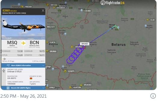 """Рейс белорусской авиакомпании """"Белавия"""" из Минска в Барселону одиноко наматывает круги в воздушном пространстве Белоруссии."""