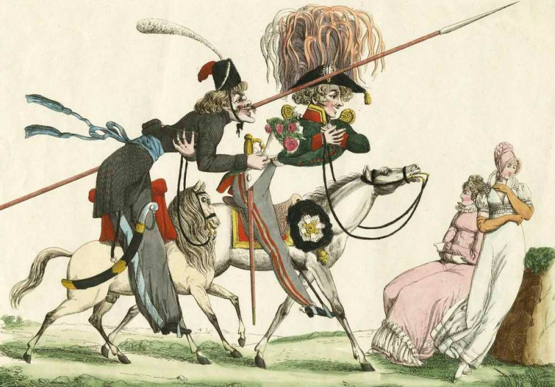 """Русские в Париже. Комплименты дамам"". Карикатура на русских офицеров в Париже."