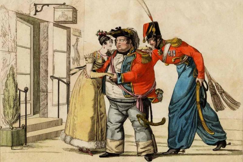 Французская карикатура. Толстый английский солдат платит французской даме, не подозревая, что та предпочла лихого русского военного и протянула ему другую руку.