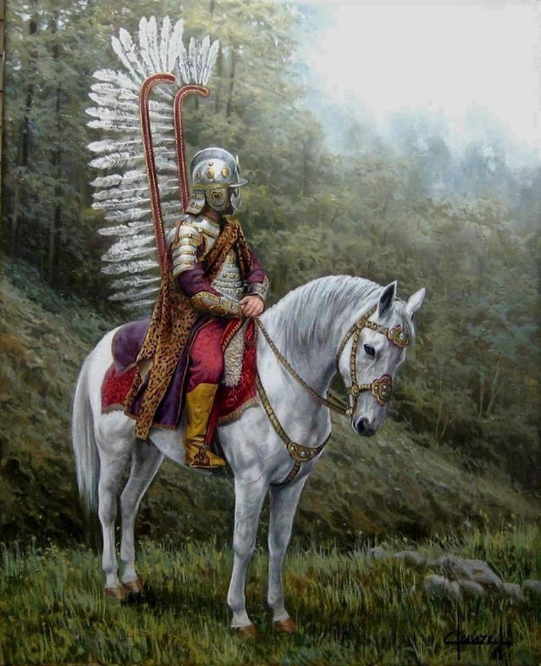 """Крылатый польский гусар — с ангельскими крылышками позади. Надо заметить, что, несмотря на столь экстравагантный костюм, польские гусары были очень храбрыми и умелыми воинами, и доставили московитам и другим своим врагам немало проблем, так что некоторое время польская тяжелая конница даже считалась в Европе """"непобедимой""""."""