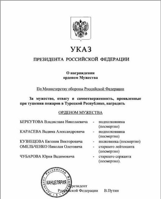 Указ кремлевского уродца о награждении очередных героев. В очередной раз — посмертно.