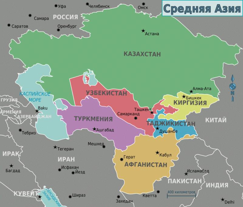 Карта Средней Азии. Не нужно думать, что Афганистан — это где-то далеко. Это совсем рядом.