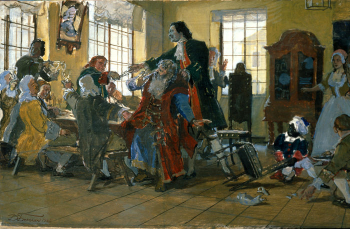 «Петр I стрижет бороды боярам». Картина художника Дмитрия Белюкина, 1985 год.