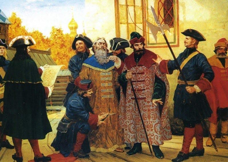"""Московские """"государевы люди"""", согласно указу московского деспота Петра Первого, отрезают бороду у знатного русского человека."""