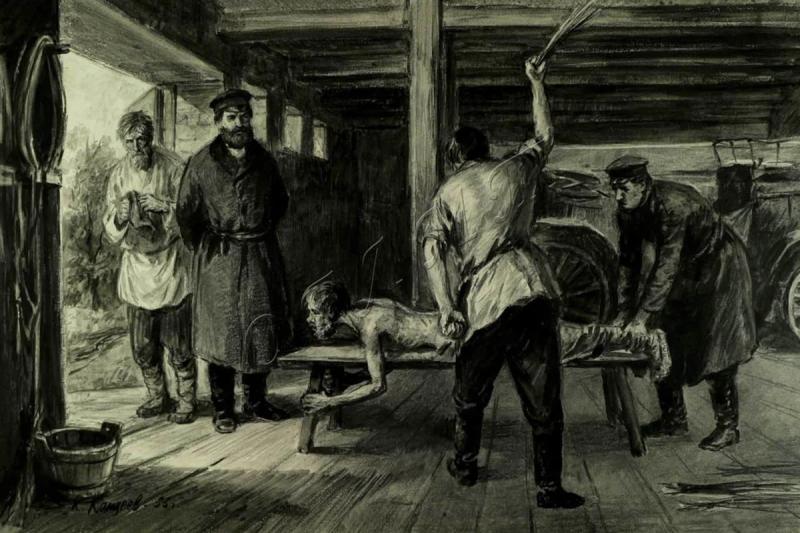 Русского мужика порют на конюшне. Нигде больше в Европе физическое насилие не применялось так широко, как в поганом московском государстве. Кнут и плетка — это и есть основа всего московского государства.