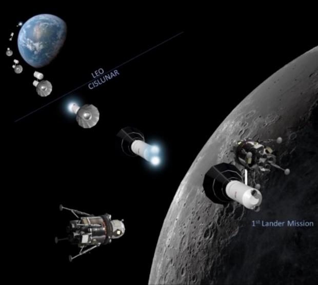"""Заправка лунного модуля с веселых картинок от жуликов из """"Локхид Мартин""""."""