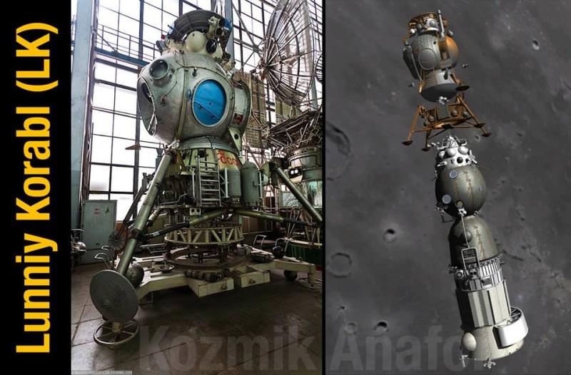 """Советский лунный модуль в Музее космонавтики и изображение его отделения от космического корабля """"Луна-1""""."""
