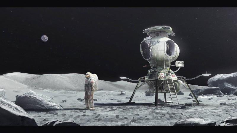 Изображение космонавта и советского лунного модуля на поверхности Луны.