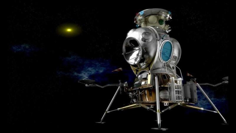 Полет советского лунного модуля к Луне.