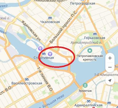 Район Арт-Парка - от Тучкова моста до Биржевого моста.