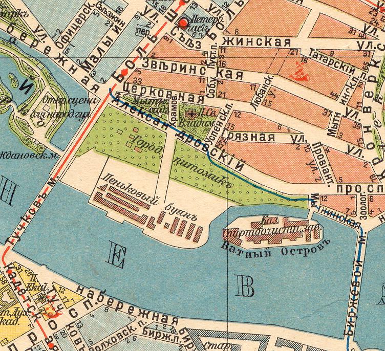 Так выглядела эта часть города в 1913 году. Протоку вокруг Ватного острова, на котором находился казенный спиртоочистительный завод, вскоре засыпали.