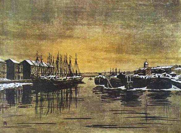 """""""Дворец Бирона и барки"""". Картина Остроумовой-Лебедевой, 1916 год."""