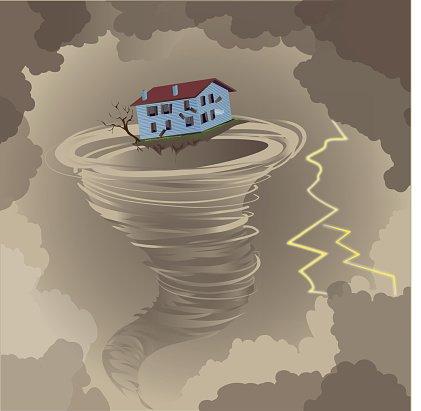 Торнадо уносит домик с Дороти и Тото в страну Оз.