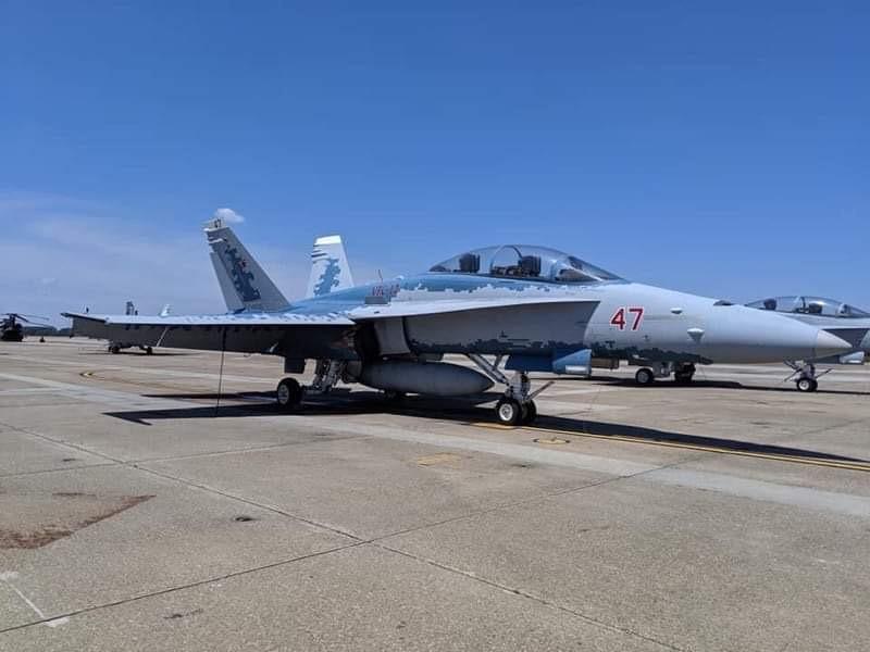 Убогий F/A-18 Hornet тупых пиндосов, раскрашенный этими придурками под пиксельную окраску русского истребителя Су-57.