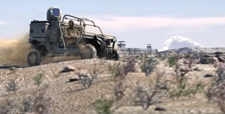 Тупые пиндосы на машинке с лазером едут по пересеченной местности.