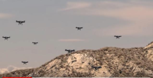 Стая дронов атакует тупых пиндосов на багги.
