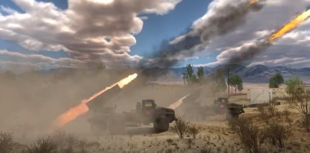 """Враги стреляют по базе тупых пиндосов из """"Катюш""""."""