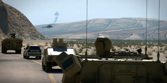 Вражеский вертолет, пораженный мощным лазером могучих воинов-пиндосов, дымясь, падает на землю.