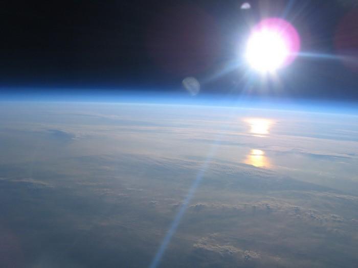 Вид Земли из ближнего космоса с высоты 20 км.