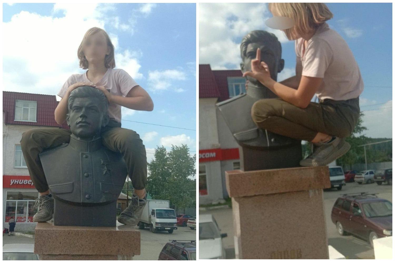 Школьница показала средний палец бюсту Героя СССР