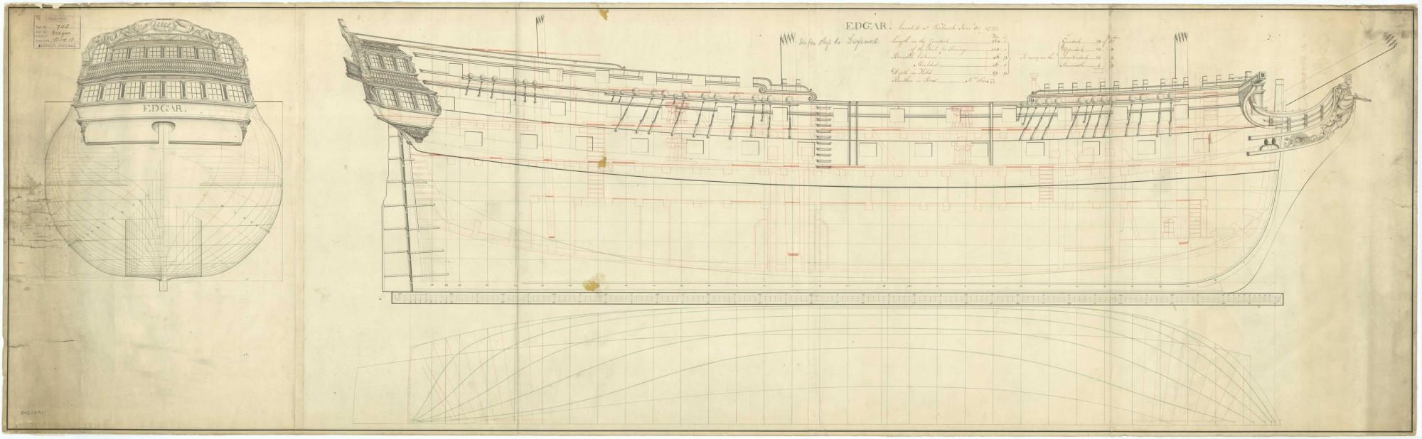 """Чертеж английского 74-пушечного корабля третьего ранга """"Edgar"""" 1779 года"""