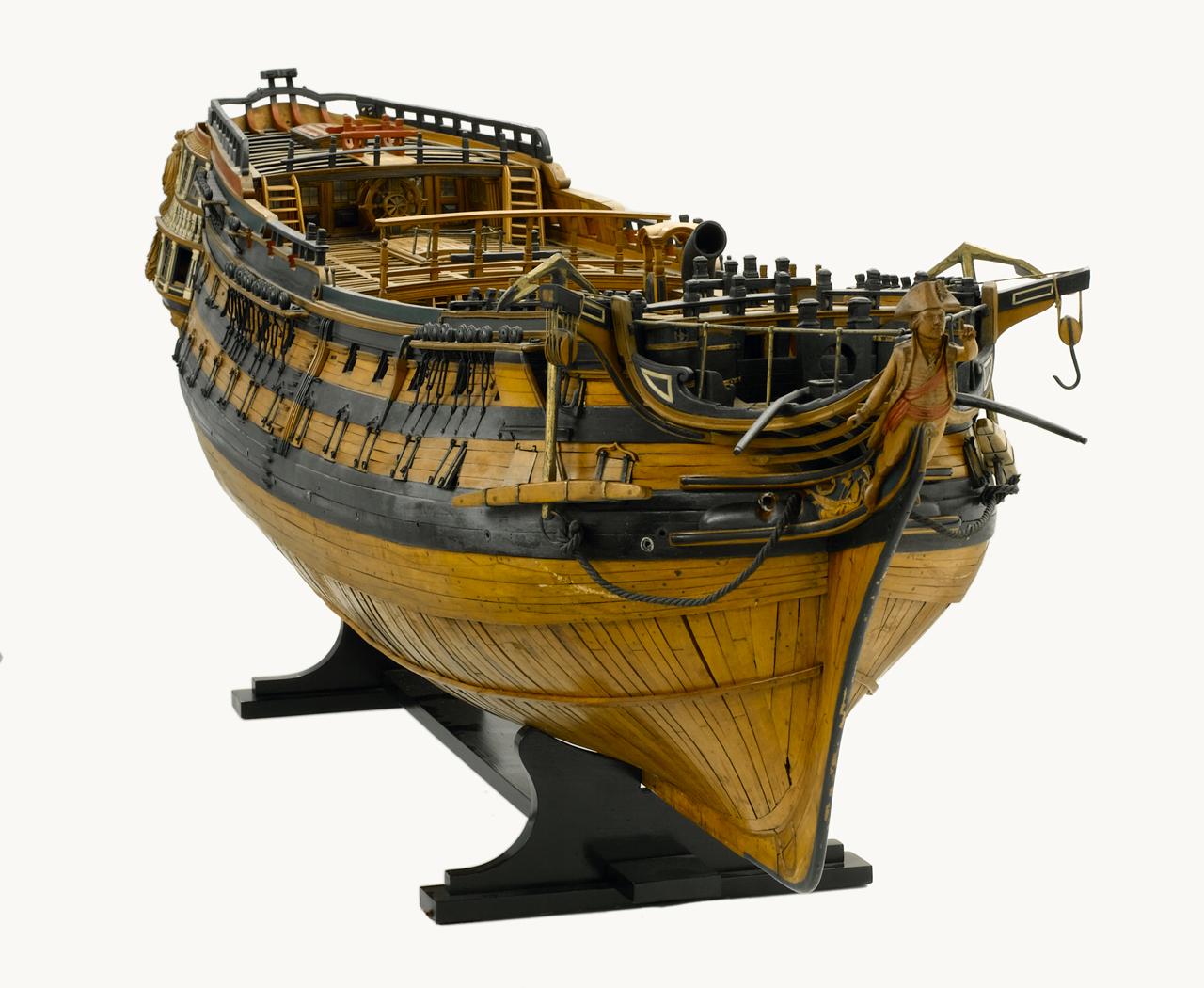 Английский, линейный, 74-пушечный, двухпалубный корабль третьего ранга. Примерно 1790 год