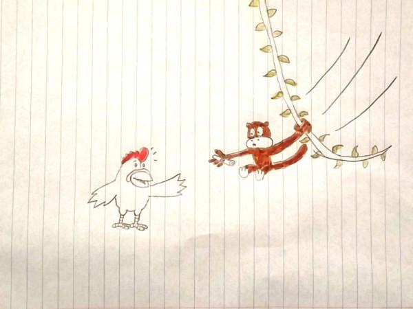 эстафета обезьяна и петух